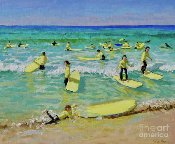 Wall Art - Painting - Summer Surfing, St Ives by Andrew Macara