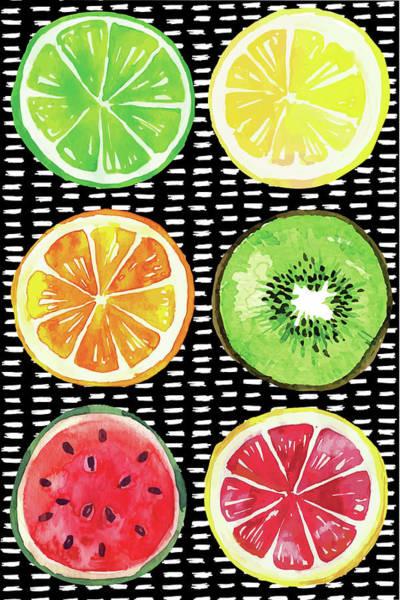 Pineapple Digital Art - Summer Sweetness Fruits by Nd Art