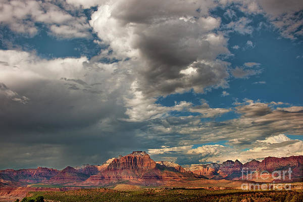 Photograph - Summer Thunderstorm Clouds Form Over West Temple Zion National Park Utah by Dave Welling