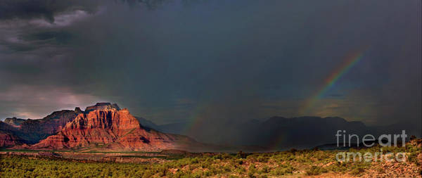 Photograph - Summer Thunderstorm Over West Temple Zion National Park Utah by Dave Welling