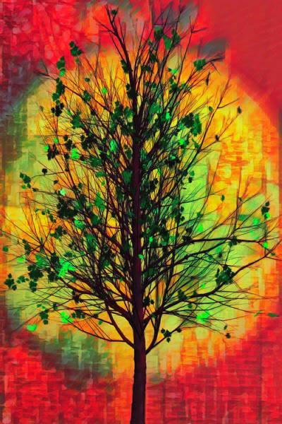 Flowering Trees Digital Art - Summer Tree In African Art by Debra and Dave Vanderlaan