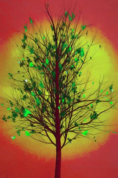 Digital Art - Summer Tree In Beachy Colors by Debra and Dave Vanderlaan