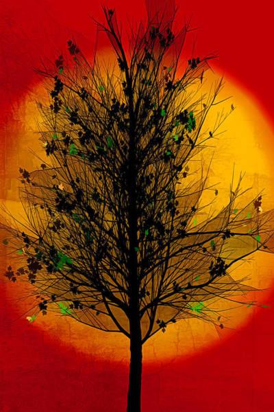 Digital Art - Summer Tree In Golds by Debra and Dave Vanderlaan