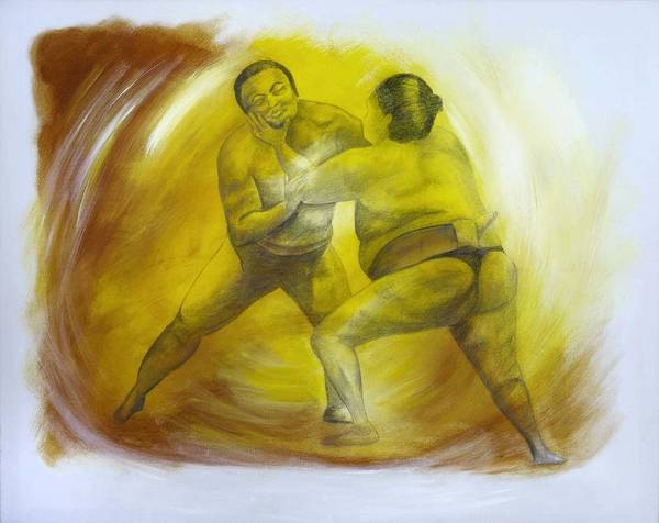 Wall Art - Painting - Sumo Wrestling by Julie Margaglione