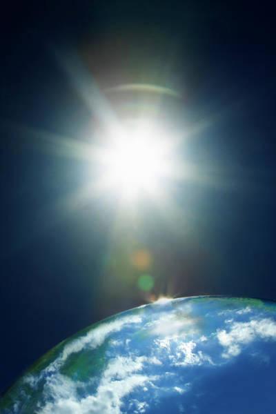 Beginnings Photograph - Sun & Earth by Yuji Sakai