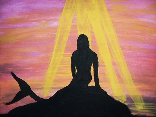 Wall Art - Painting - Sun And Mermaid  by Vale Anoa'i