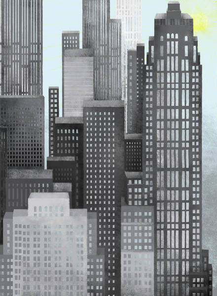 Cityscape Digital Art - Sun And Skyscrapers by Jutta Kuss
