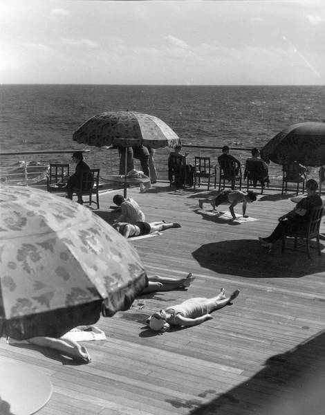 Boat Deck Photograph - Sun Bathing On Deck by The New York Historical Society