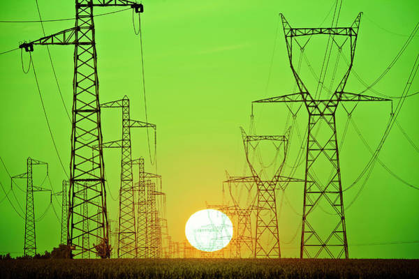 Wall Art - Photograph - Sun Behind Power Lines by Sylvain Sonnet