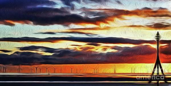 Liverpool Skyline Digital Art - Sun Going Down by John Wain