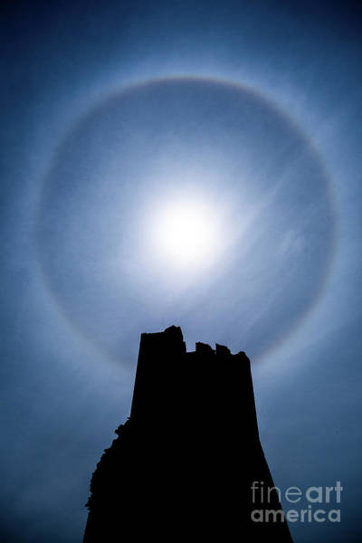 Photograph - Sun Halo Over Aberystwyth Castle Tower by Keith Morris