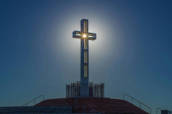 Photograph - Sun Illuminates The Cross by Jonathan Hansen