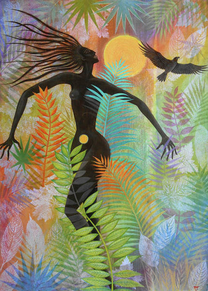Wall Art - Painting - Sun Kiss Eagle Woman Jungle Bliss by Jennifer Baird