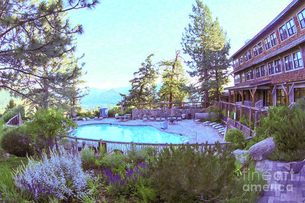 Photograph - Sun Mountain Lodge Pool With A View Of The North Cascade Mountain Range by Omaste Witkowski