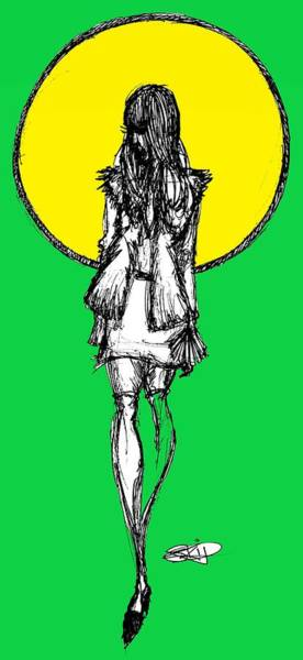 Neon Drawing - Sun N Green by SKIP Smith