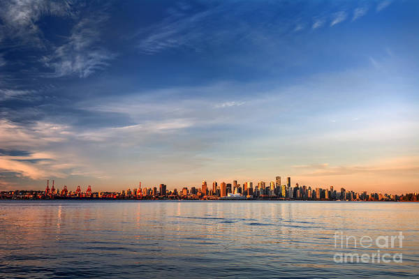 Wall Art - Photograph - Sun Painting The City Skyline Gold by West Coast Scapes