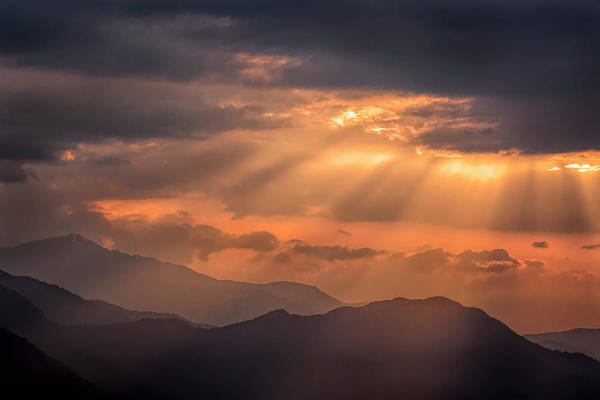 Wall Art - Photograph - Sun Rays Over The Mountains by Lindley Johnson