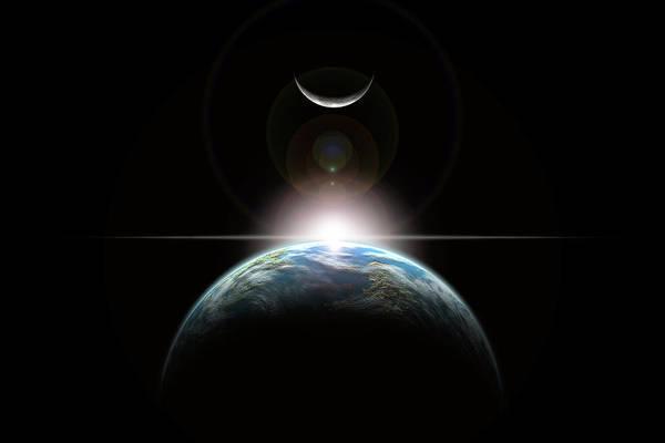 Digital Art - Sun Rise In Space No.1h by Marc Ward
