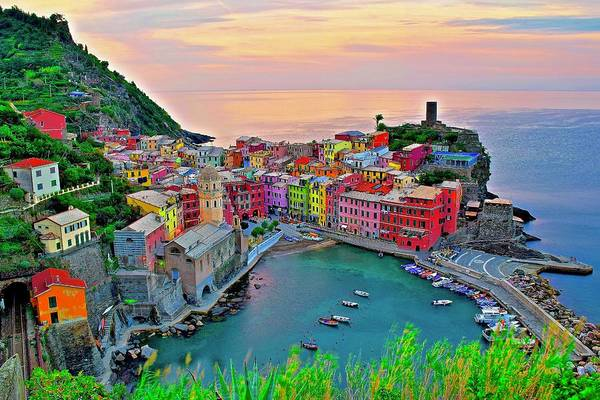 Wall Art - Photograph - Sun Rises On Vernazza 2015 by Frozen in Time Fine Art Photography