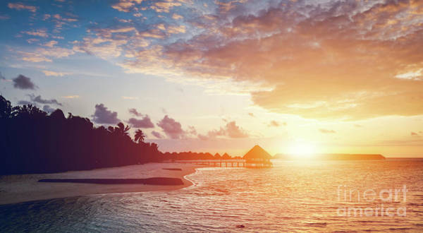 Photograph - Sun Setting On A Tropical Island. by Michal Bednarek