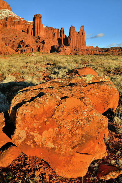 Photograph - Sun Setting On Fisher Towers In Utah by Ray Mathis