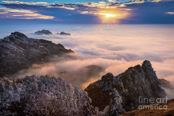 Wall Art - Photograph - Sun Setting On Huangshan by Inge Johnsson