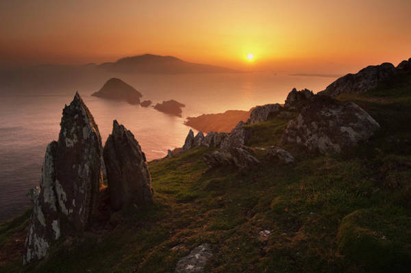 Dingle Peninsula Photograph - Sun Setting Over Rural Rock Formations by George Karbus Photography