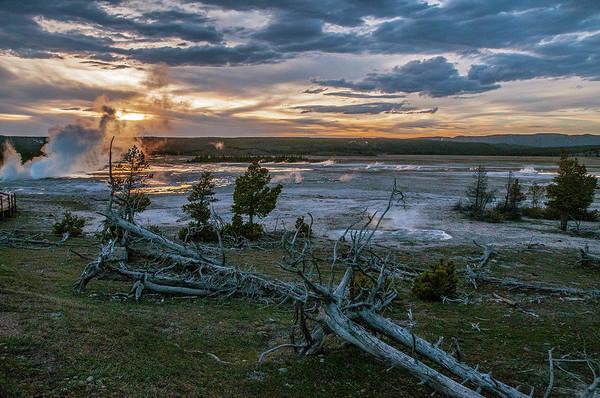 Photograph - Sun Setting, Steam Rising Yellowstone by Matthew Irvin
