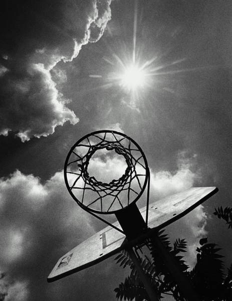 Wall Art - Photograph - Sun Shining Above Basketball Hoop, View by Jerry Gay