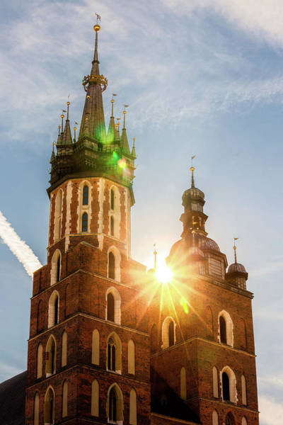 Wall Art - Photograph - Sun Shining At St Mary Basilica In Krakow by Artur Bogacki