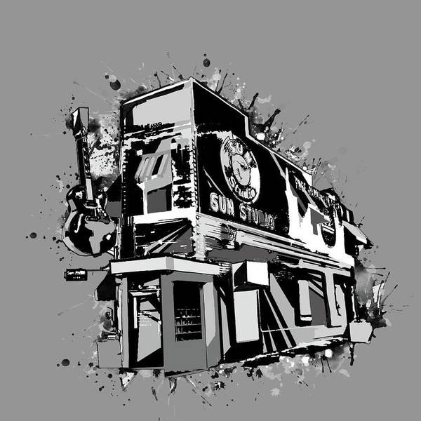 Wall Art - Digital Art - Sun Studio Memphis Black And White by Bekim M