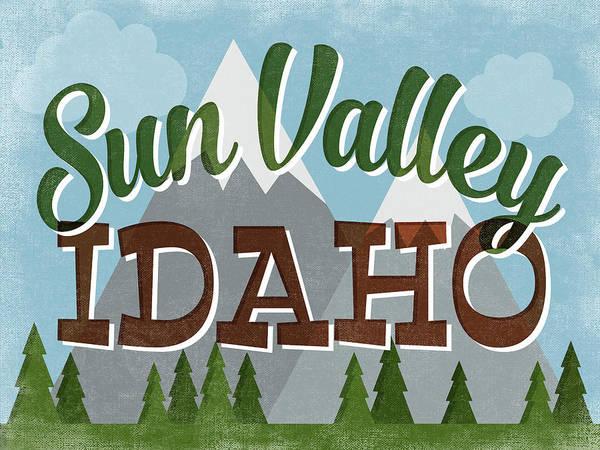 Valley Digital Art - Sun Valley Idaho Retro Mountains by Flo Karp