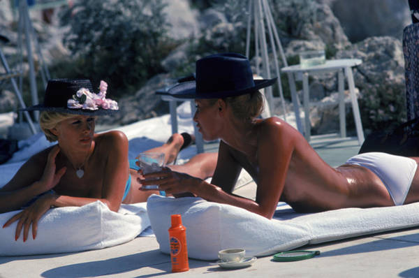 Hat Photograph - Sunbathing In Antibes by Slim Aarons