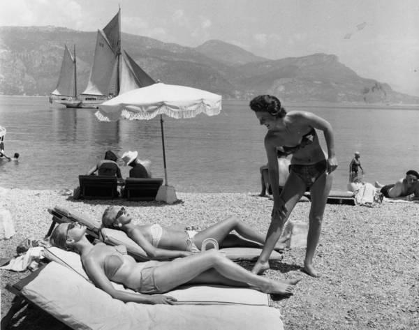Furniture Photograph - Sunbathing On Beach by Bert Hardy