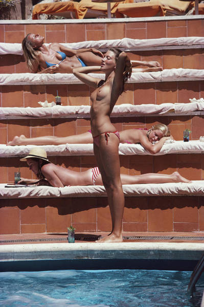 Archival Wall Art - Photograph - Sunbathing On Capri by Slim Aarons