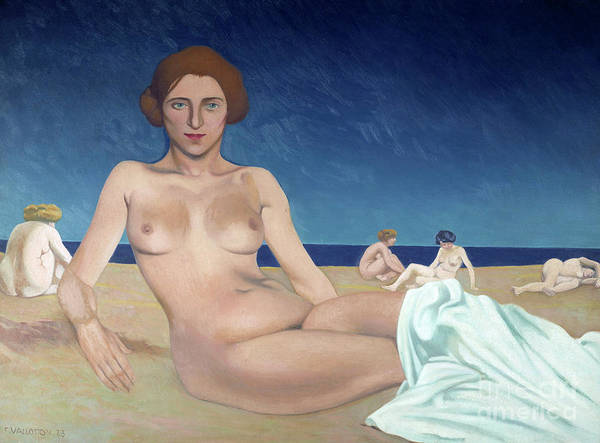 Wall Art - Painting - Sunbathing On The Beach  by Felix Vallotton