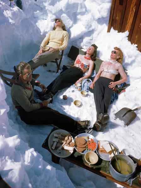 Sweater Photograph - Sunbathing Skiiers by George Silk