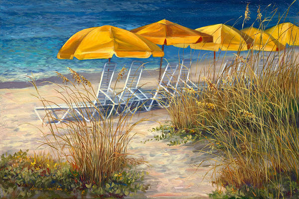 Sea Oats Painting - Sunbrellas by Laurie Snow Hein
