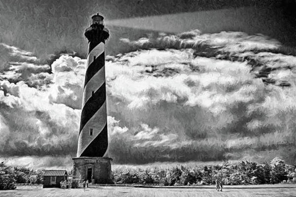 Wall Art - Digital Art - Sunday At The Hatteras Lighthouse Bw by Dan Carmichael