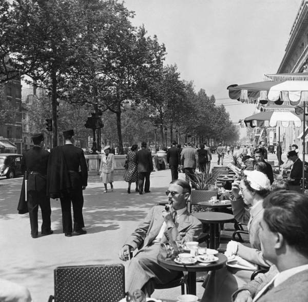 Sidewalk Cafe Photograph - Sunday In Paris by Bert Hardy