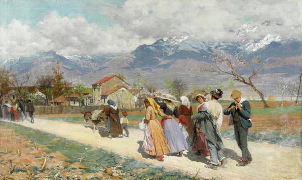 Alpine Meadow Painting - Sunday Walk by Luigi Cima