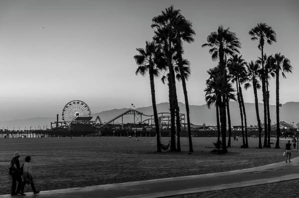 Photograph - Sundown At The Pier - Black And White by Gene Parks