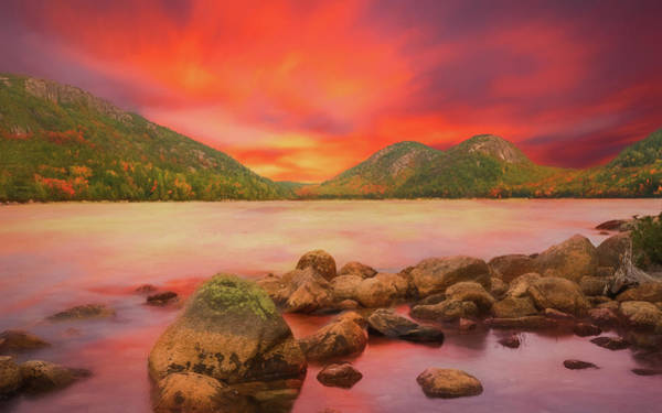 Mixed Media - Sundown On Jordan Pond by Dan Sproul