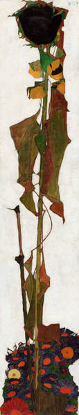 Wall Art - Painting - Sunflower, 1909-1910 by Egon Schiele