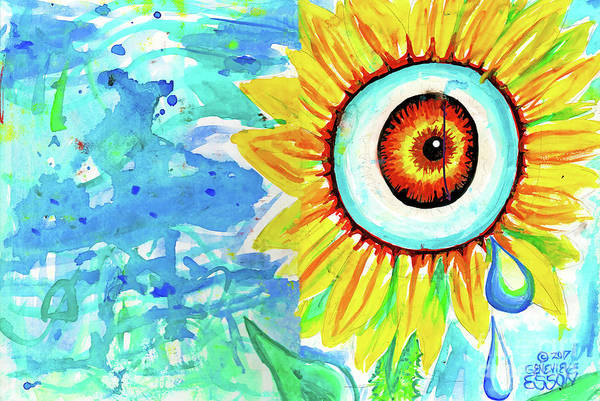 Wall Art - Painting - Sunflower Eye With Tear Drop by Genevieve Esson