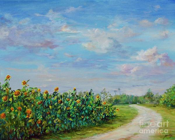 Painting - Sunflower Field Ptg by AnnaJo Vahle