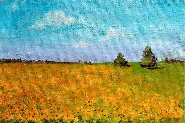 Painting - Sunflower Fields-end Of Summer by Asha Sudhaker Shenoy