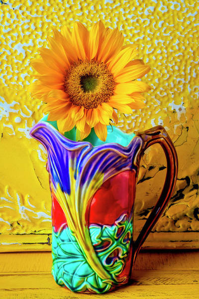 Wall Art - Photograph - Sunflower In Classic Vintage Pitcher by Garry Gay