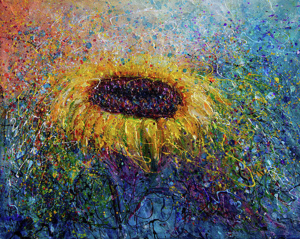 Photograph - Sunflower In The Swirls Of Sunshine  by OLena Art - Lena Owens