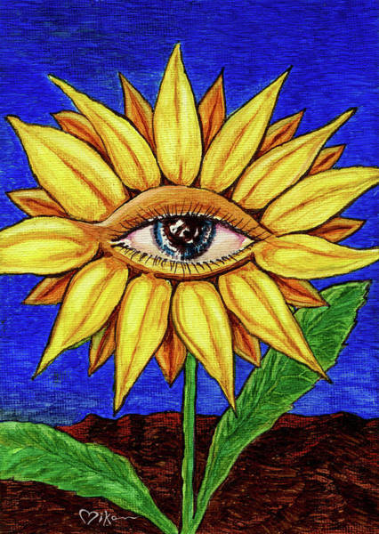 Wall Art - Painting - Sunflower Seeing by Miko Zen